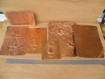 Vintage Old Copper Sheet Art, Old Copper Wall Hangings Lot (F653)