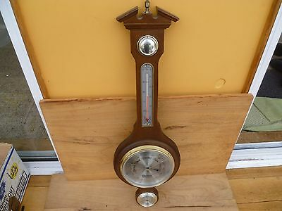 Vintage Old Large Size 2 Piece Wall Barometer, Japan Made (C456)