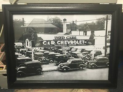 1930 Chevrolet Ford Car Yard Stock Car Holden GM 3x Picture frame 50x37cm