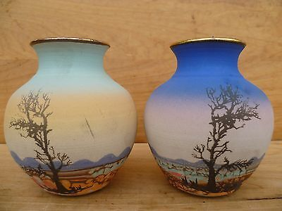 Vintage Old Australian Hand Painted, Hand Made Pottery Flower Vases Lot '2' D199