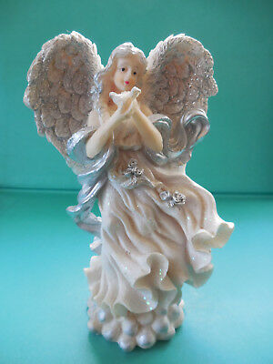 Beautiful Angel - Standing - Silver Ribbon / Roses - Lovely Glitter  Wings  .