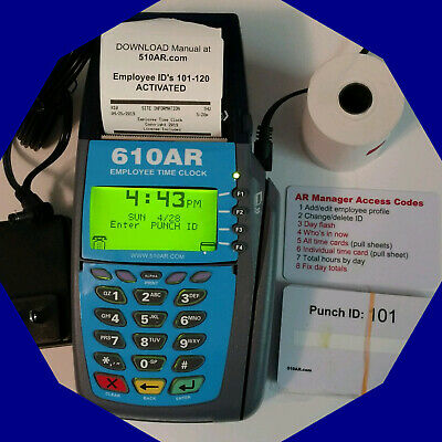 610AR RUNS DURING POWER OUTAGE Digital Employee Time Clock Punch/swipe, payroll