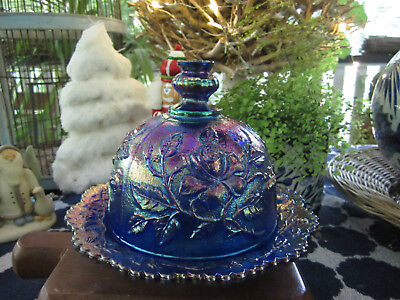 Outstanding Vintage Blue Shades & Mauve Carnival Glass Butter Dome & Dish