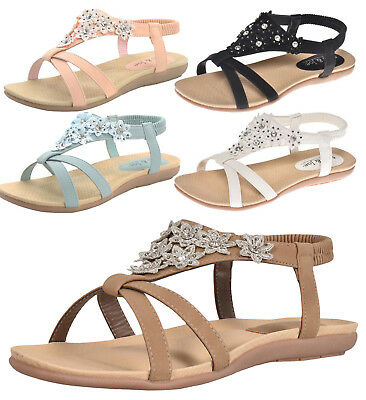 Ladies Sandals Embellished Slingback Cushioned Comfy Floral Womens Casual Shoes