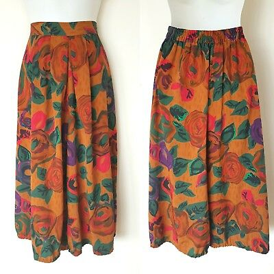 Vintage High Waist Culottes by Regency~Sz 12 14~80s Brown tones~ Mid Calf Pocket