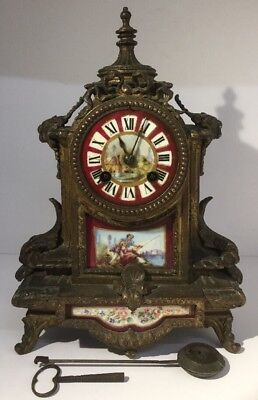 Fine Antique 19Th Century French Gilt Bronze And Sevres Style Porcelain Clock