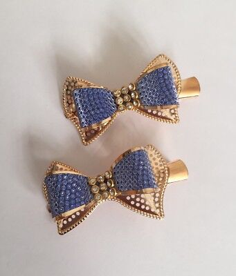 Pair Of Luxury Gold And Blue hair Clips/girls Accessories/partywear