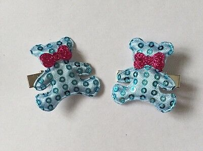 Pair Of Blue Teddy Bear Sequins hair Clips/aligator Clip/girls Accessories
