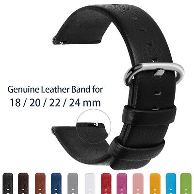 Fullmosa Quick Release Strap Leather Wrist Watch Band Replacement 18/20/22/24mm