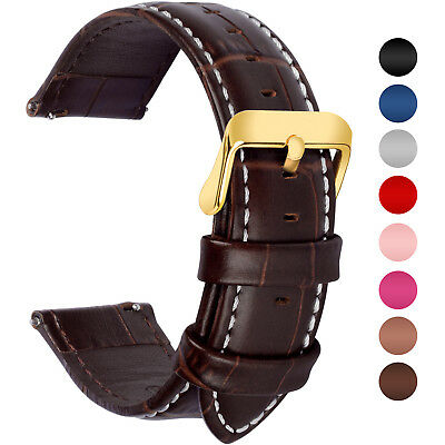 6 Colors Genuine Leather Watch Wrist Band Quick Release Strap 18/20/22/24mm Belt