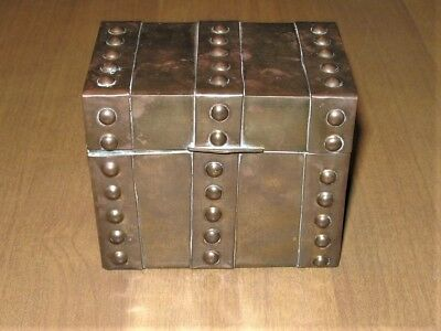 Antique Arts and Crafts Brass Trinket Box Hand Made