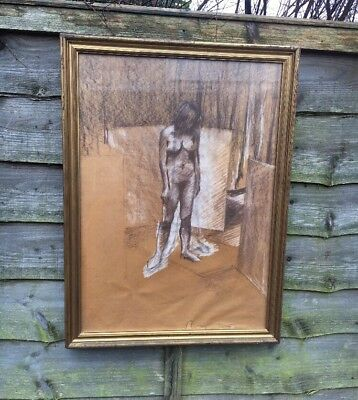 Large Nude Woman Pastel Charcoal Painting In Gold Gilt Frame