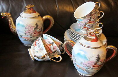 Old Japanese Satsuma Nippon Dragon Ware Hand Painted Gold Red MORIAGE TEA SET
