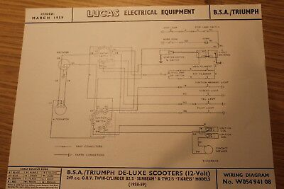 BSA Triumph Sunbeam & Tigress De Luxe Scooters '59 Original Lucas Wiring Diagram