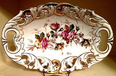 CT Germany (Carl Tielsch) Reticulated Oval Fruit Bowl, Gold Trim, Floral Decor