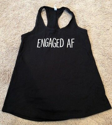 Bride-to-Be, Engaged AF Black Tank Top, Size S