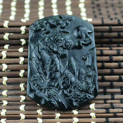 2018 new Chinese natural black green jade jadeite  tiger pendant necklace