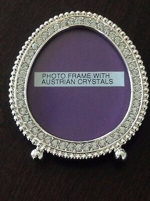 Silver Plated Photo Frame with Austrian Crystals from 1990's
