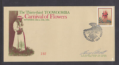 SOUVENIR COVER: 1982 THE 33rd TOOWOOMBA CARNIVAL OF FLOWERS LIM/ED #192 SIGNED