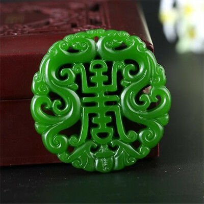 2018 new China hand-carved Green jade 双龙祝寿  jade pendant Necklace Amulet