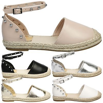 ebbde385edf2f Andrea Womens Flats Low Heels Studded Ankle Strap Espadrilles Ladies Shoes  Size