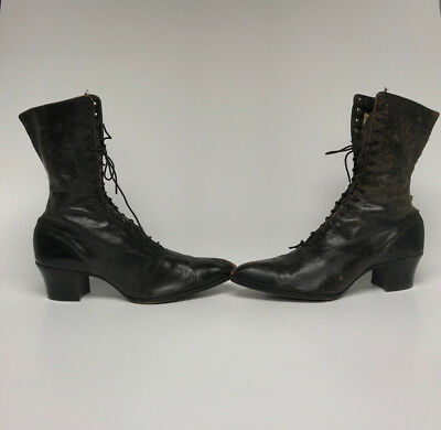 Antique Victorian Boots Womens Black Leather High Lace-Up Shoes WITCH STEAMPUNK