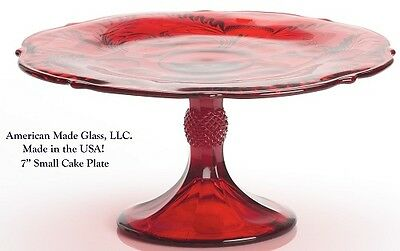 Red Glass Inverted Thistle Pattern Small Cake Plate - Mosser USA