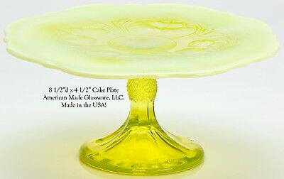 Vaseline Opalescent Glass Inverted Thistle Small Cake Plate- Mosser Glass USA