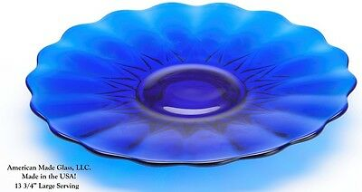Cobalt Blue Glass Nicole Pattern Large Serving Plate - Mosser Glass USA