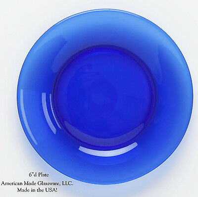 Cobalt Blue Glass Plain & Simple Bread Plate - Mosser USA