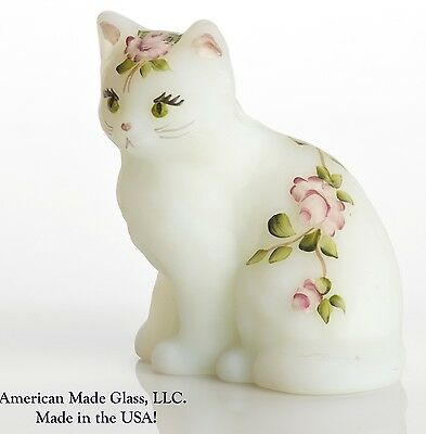 Milk Satin Handpainted w/ Roses Solid Glass Fluffy Kitten Cat Figurine - Mosser