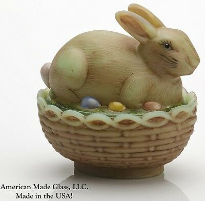 Jade Antique Glass Handpainted Covered Bunny Dish - Mosser USA