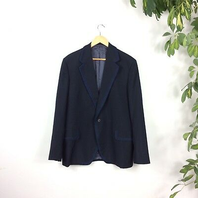 Vtg Navy Blue Blazer Spanish Style Matador Collar Braid Trim Jacket 40 Regular M