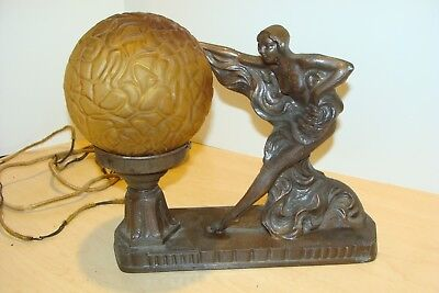 Vintage Art Deco Brass Semi Nude Lamp W/ Amber Brain Globe No. 183