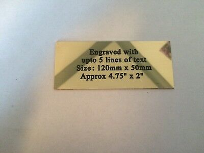 """Solid Brass Polished  Engraved Plaque size 120 x 50mm approx 4.75"""" x 2 Memorial"""