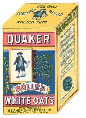 Antique 3-D Open Out Trade Card Box Of Quaker Oats Kids Dog Cat Breakfast Table