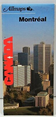 1987 Montreal Canada Street Map English French Vintage Old