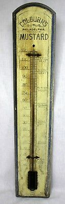 early COLBURN'S MUSTARD Wooden Thermometer ~ Philadelphia, PA ~ ADVERTISING