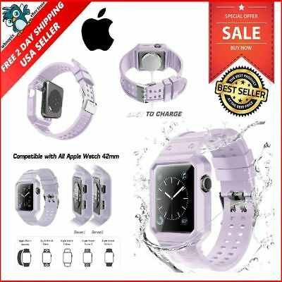 Apple Watch Iwatch Band Series 3 2 1 Sport Silicone Case And Strap 42mm Lavender