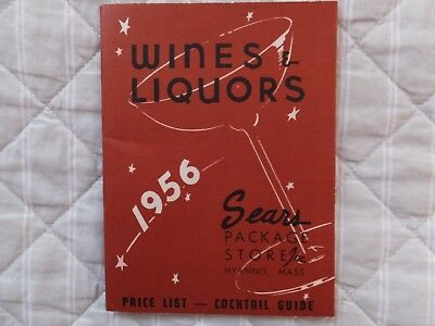 1956 Sears Package Store Inc Wines & Liquors Price List Cocktail Guide