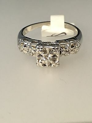 14k White Gold And Diamond Vintage Engagement Ring - Collection #9924