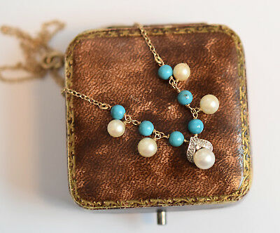 Fine 9ct gold turquoise, cultured pearl and diamond pendant necklace