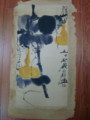 """Fine Old Large Chinese Paper Painting Melons """"BaiShi"""" Mars"""
