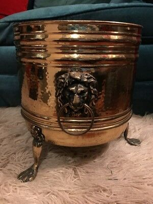 """Vintage Huge Round Footed Brass Planter With Lions Head 13"""" X 12"""" England"""