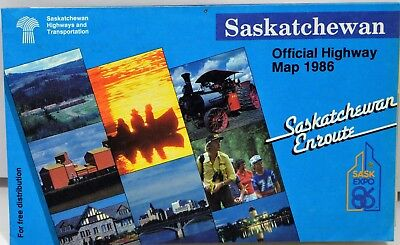 Saskatchewan Official Highway Map Canada Road Street Map 1968 Vintage Old