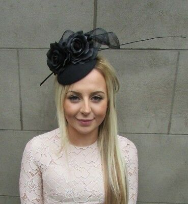 Black Rose Flower Feather Pillbox Hat Hair Fascinator Wedding Races Ascot 5280