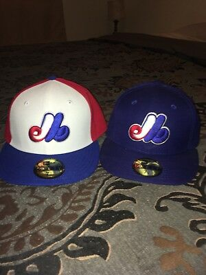 New Era Original Montreal Expos On Field Caps 7 1/4 Lot of 2!