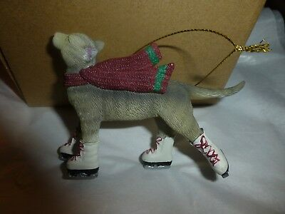 Ice Skating Grey Tabby Cat Ornament