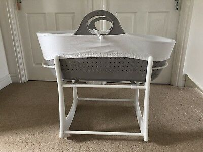 Cream Grey Moba Moses Basket & Stand With Matress & Sheets