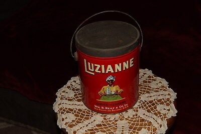 Vintage Coffee Tin 3 lb.Can LUZIANNE Brand Wm.B.Riley NEW ORLEANS & BALTIMORE